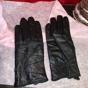 🔵 Women's Thinsulate Black Leather Gloves SZ M